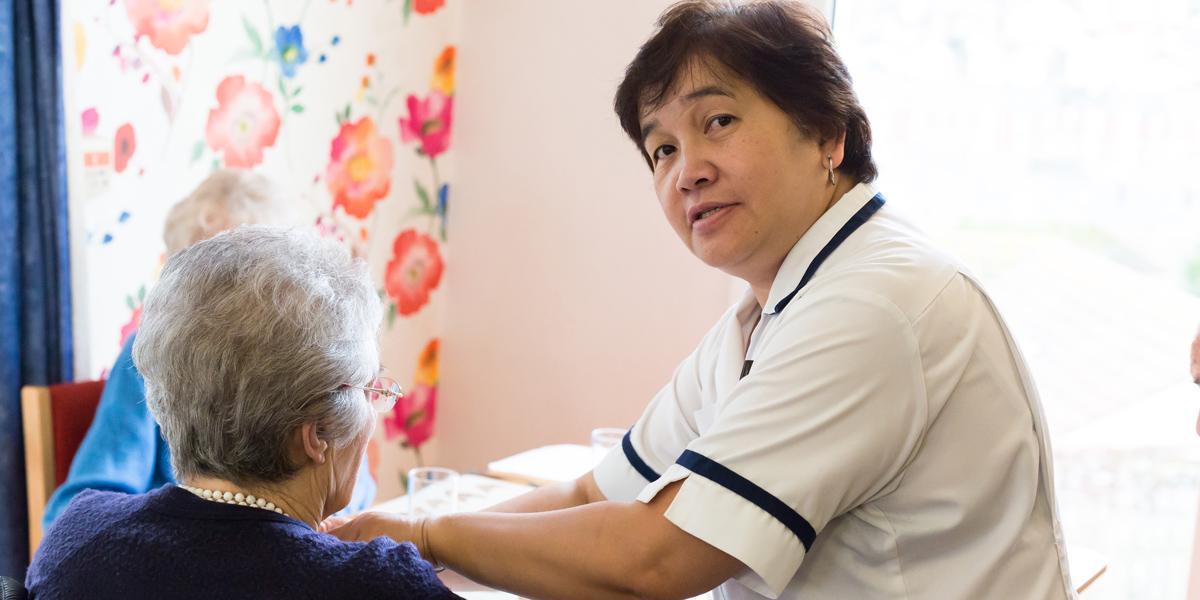 Westlands-care-home-devon-staff-caring-for-resident